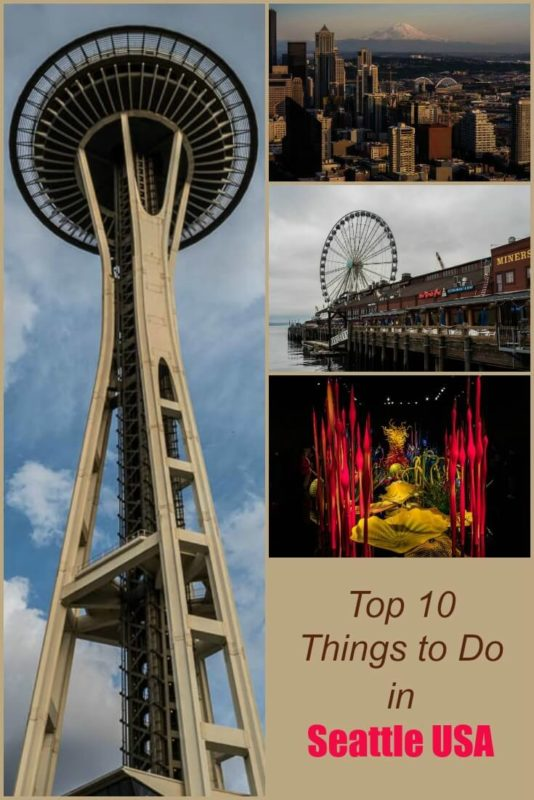 A recommended itinerary for a weekend in Seattle Washington including the space needle, several museums, restaurants and a giant wheel.