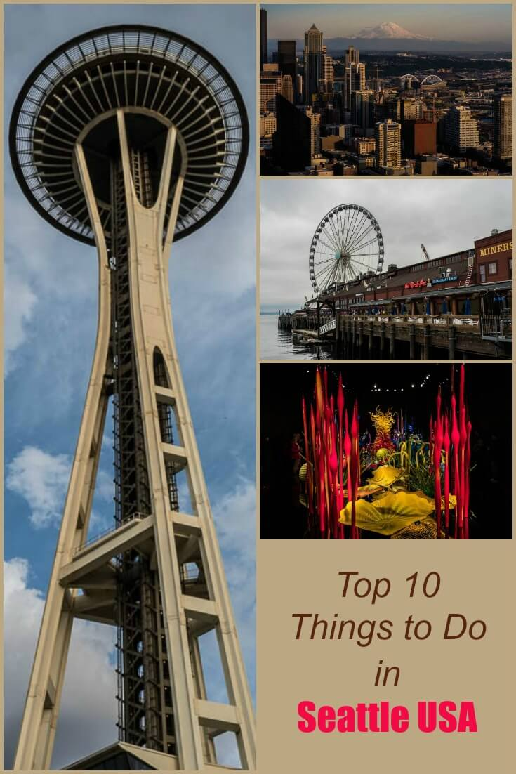 A recommended itinerary for a weekend in Seattle Washington including the space needle, several museums, restaurants, flying fish and a giant wheel.