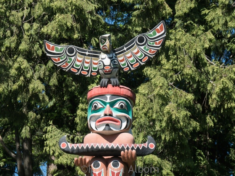 The totem poles of the First Nations people at Stanley Park