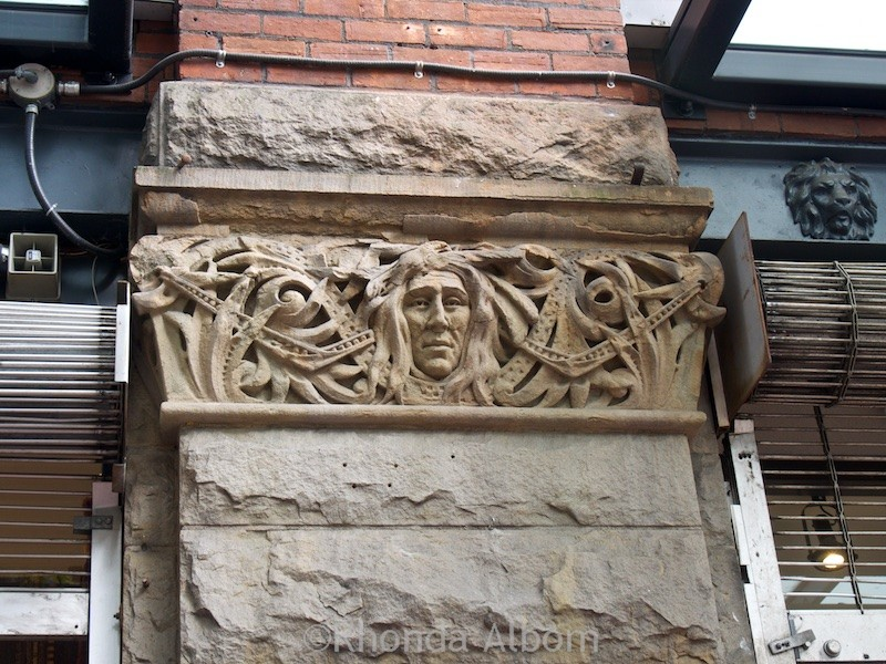 To ward off evil spirits there are similar carvings all around Gastown in Vancouver