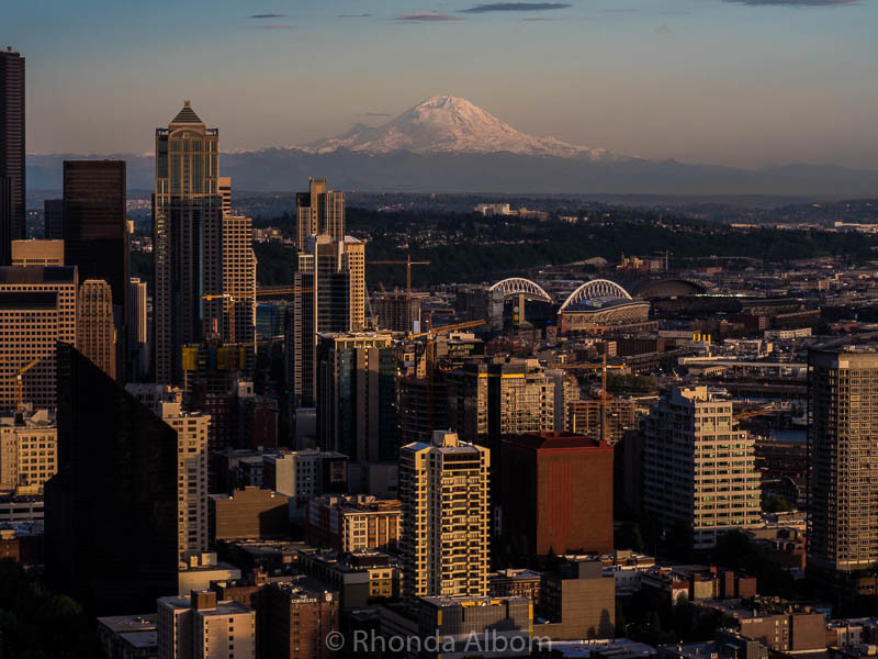 View of Mount Rainier from the top of the Seattle Space Needle
