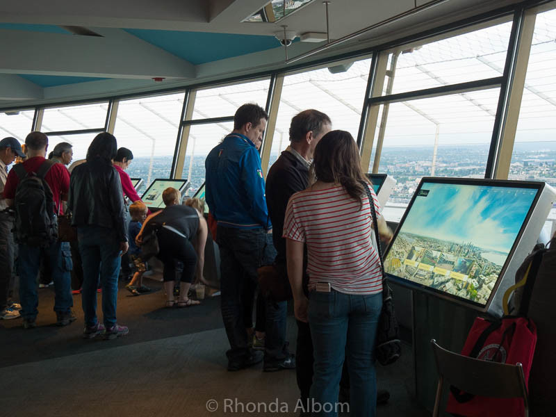 The indoor observation area on top of the Seattle Space Needle