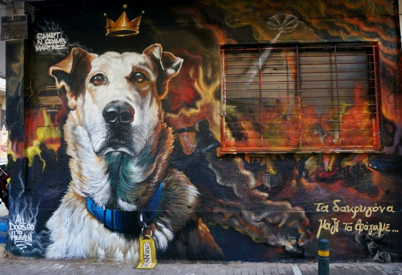 All Dogs go to Heaven' Street art in Athens Greece