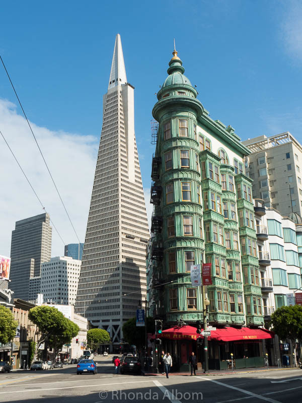 The Transamerica Pyramid Building and the Sentinel Building are classic images of San Francisco