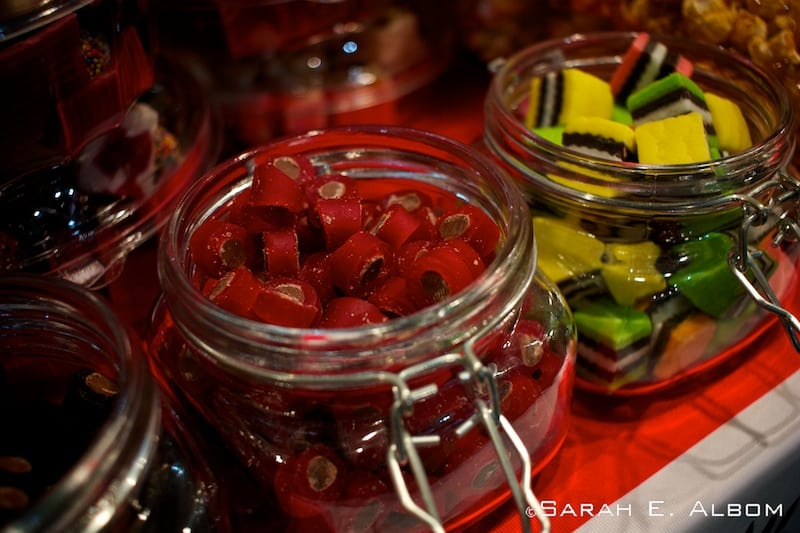 Close up of candy samples at the Auckland Food Show