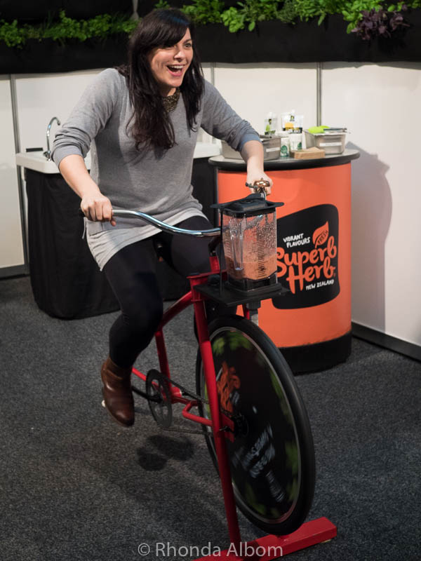 A bicycle powered blender at the Auckland Food Show 2017