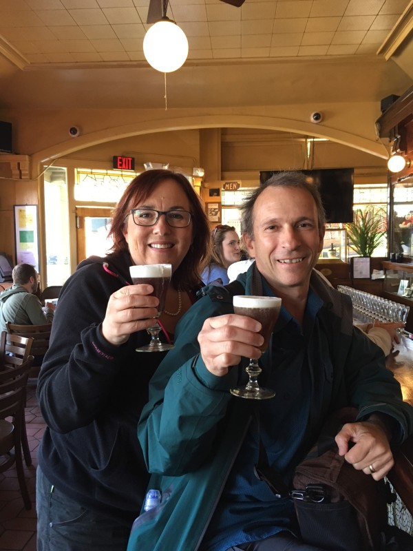 Enjoying an Irish Coffee at Buena Vista Cafe in San Francisco