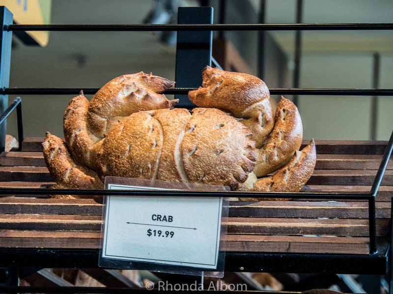 Crab shaped sourdough bread at Boudins Bakery in San Francisco