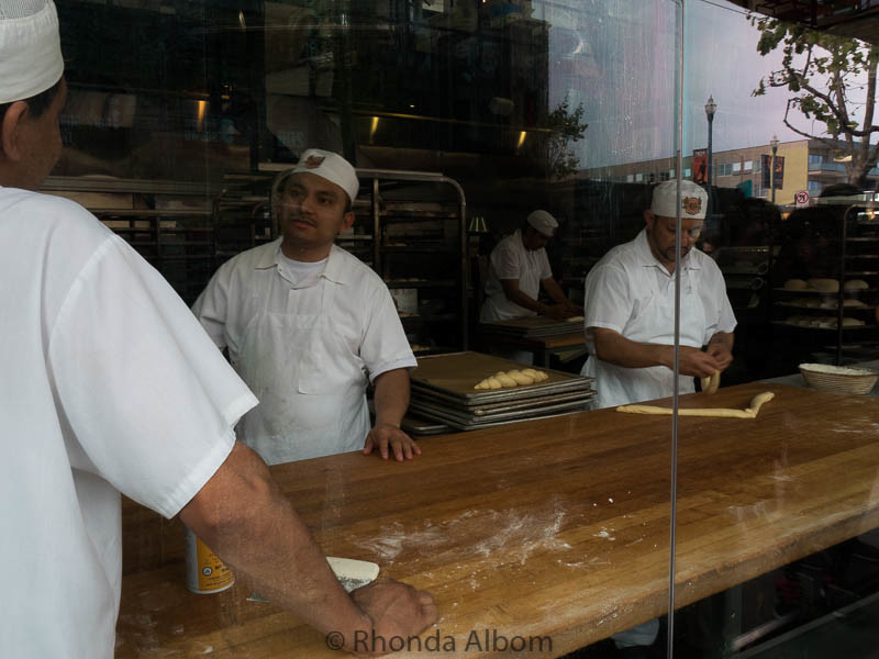 A large window lets passerybs watch the making of San Francisco's sourdough bread at Boudin Bakery