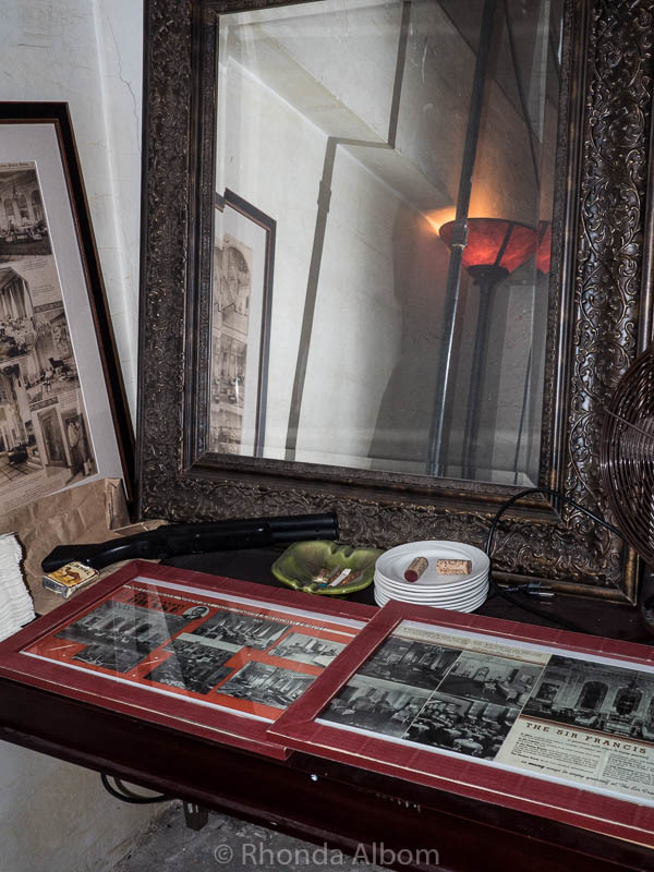 Historical information in the secret prohibition room at the Sir Francis Drake Hotel in San Francisco California