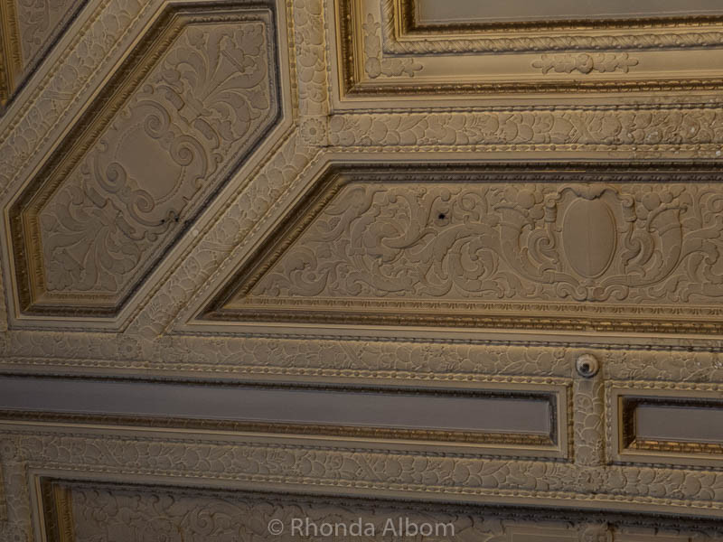 Bullet holes in the ceiling at the Sir Francis Drake Hotel in San Francisco California