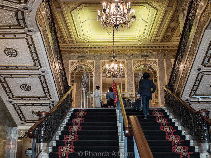Grand staircase at the entrance to the Sir Francis Drake Hotel in San Francisco California