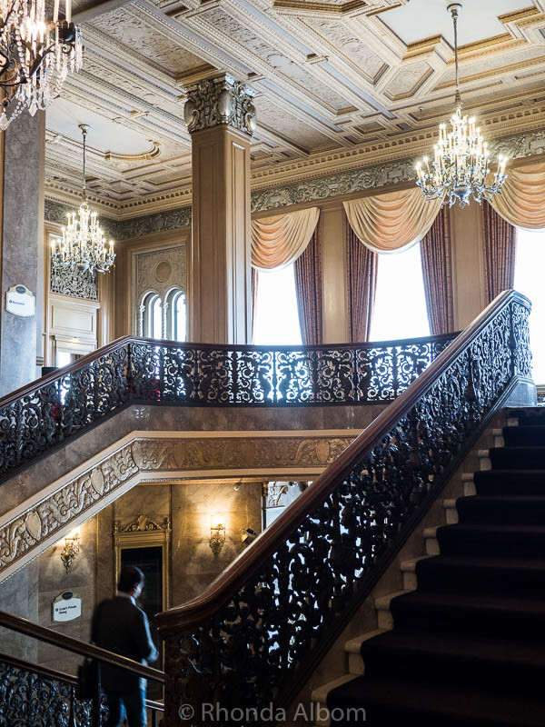 Staircase leading up from the lobby of the Sir Francis Drake Hotel in San Francisco California
