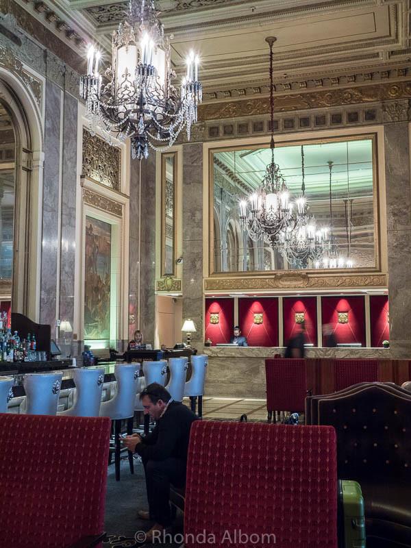 Lobby bar and reception at the Sir Francis Drake Hotel in San Francisco California
