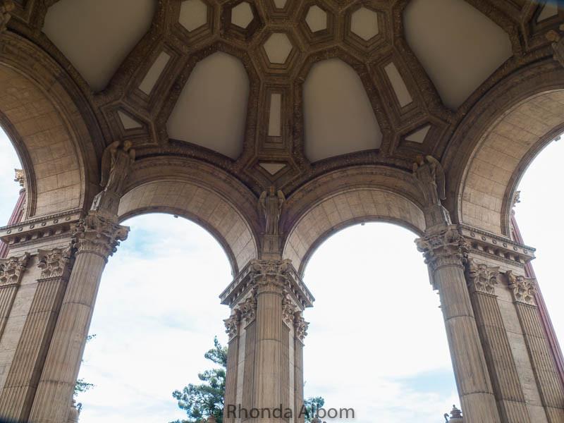 Inside the rotunda of the Palace of Fine Arts in San Francisco California