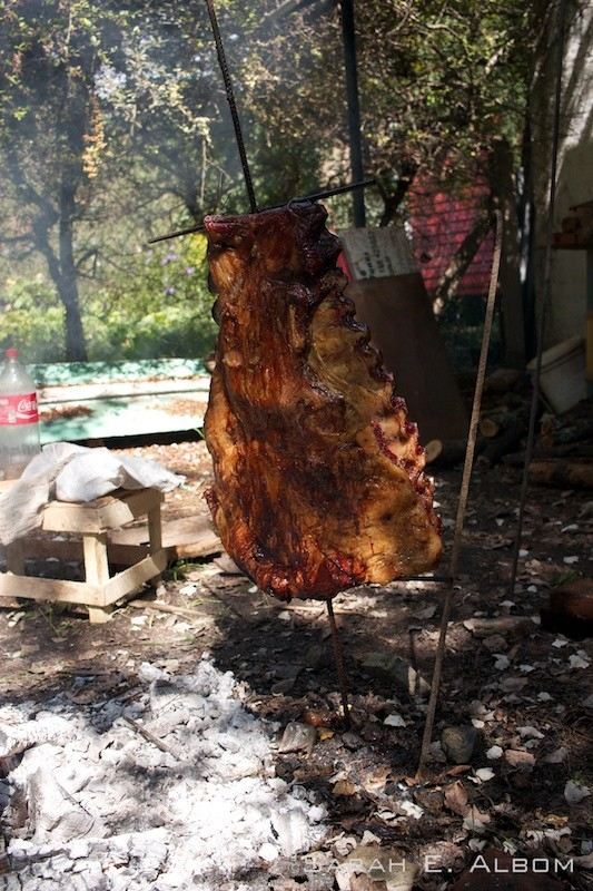 Traditional Asado with meat hanging on metal crosses in Rosario Argentina. Photo copyright ©Sarah Albom 2016