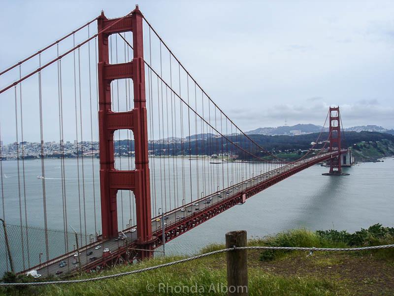 San Francisco Golden Gate Bridge as seen from Marin County, looking across to the city of San Francisco California