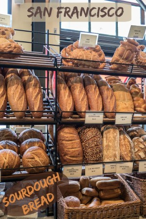 San Francisco's sourdough bread at Boudin Bakery. Don't miss this epic saga of a runaway loaf: https://www.albomadventures.com/sourdough-bread/