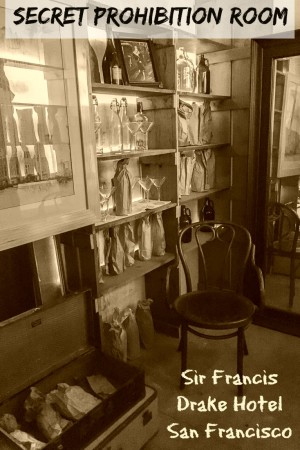 A secret prohibition room at the Sir Francis Drake Hotel in San Francisco California