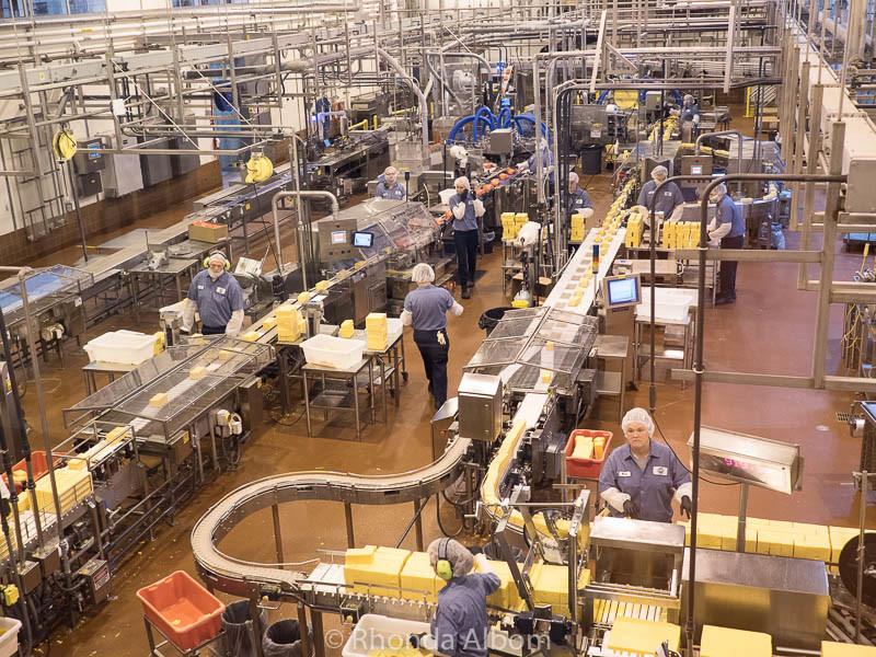 Cheese is cut at Tillamook Cheese Factory tour, Tillamook Oregon