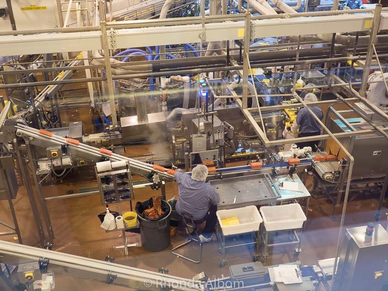 Cheese is wrapped at Tillamook Cheese Factory, Tillamook Oregon