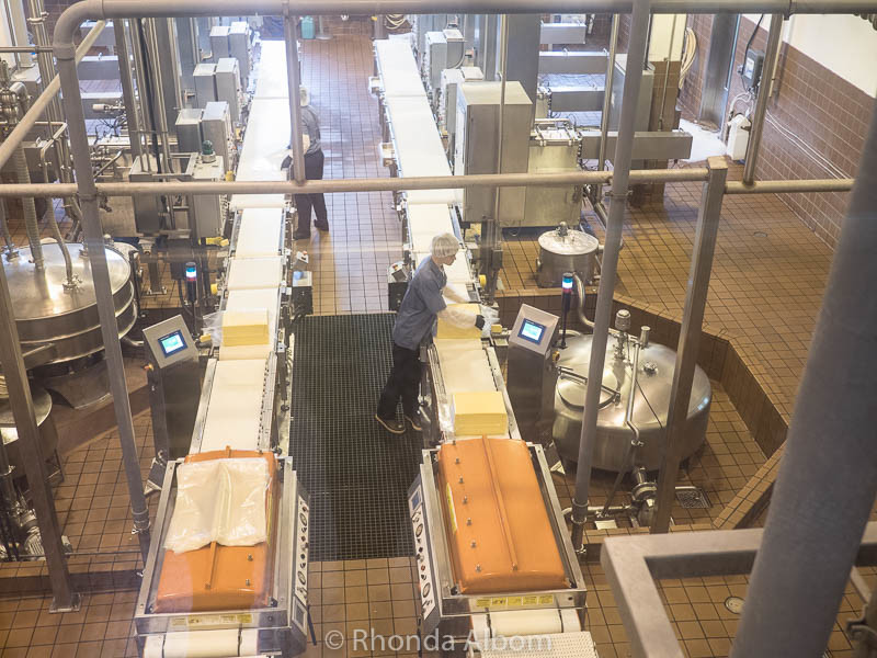 For ageing, the cheese is formed into 42 pound blocks at Tillamook Factory in Oregon
