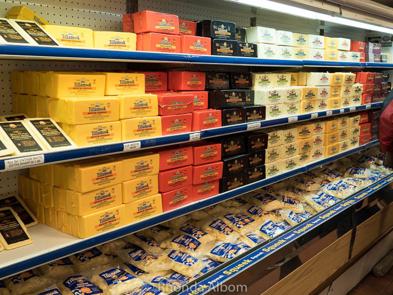 Cheeses for sale at the Tillamook Cheese Factory in Oregon
