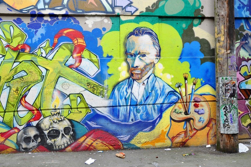 Van Gogh and skulls street art in Vancouver Canada