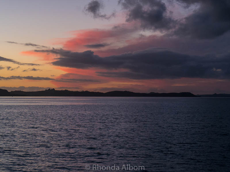 Bay of Islands just after sunset as seen from Russell New Zealand