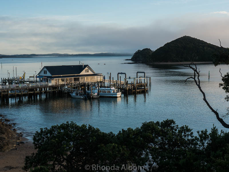 Looking down at the dock in Paihia New Zealand in the Bay of Islands