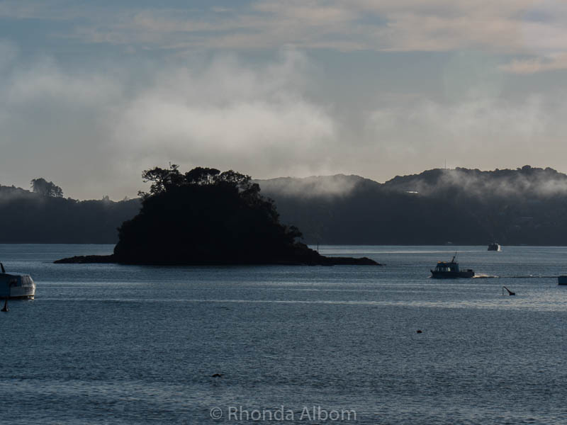 Mist and fog seen from Paihia in the Bay of Islands New Zealand