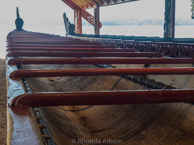 Top view of Maori waka, a war canoe, shows the beams across the width for strength in New Zealand