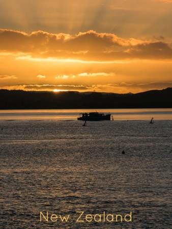 Bay of Islands sunset as seen from Russell New Zealand