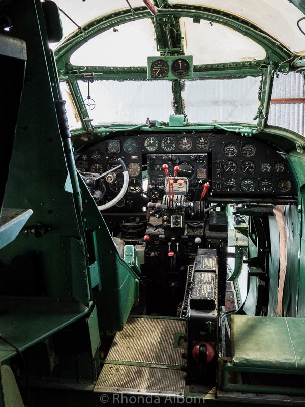 Inside the cockpit of the Ventura, a World War II plane at MOTAT in Auckland New Zealand