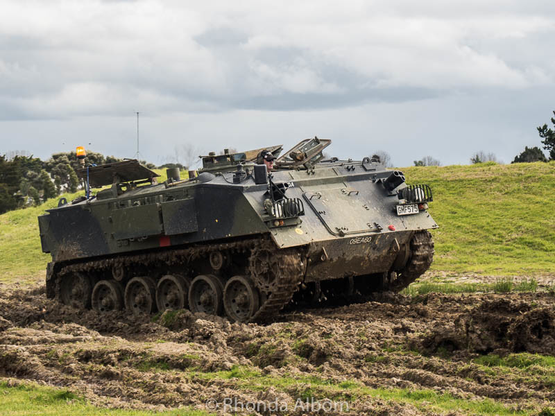 Visitors can ride inside this military vehicle at the MOTAT Live Day in Auckland New Zealand