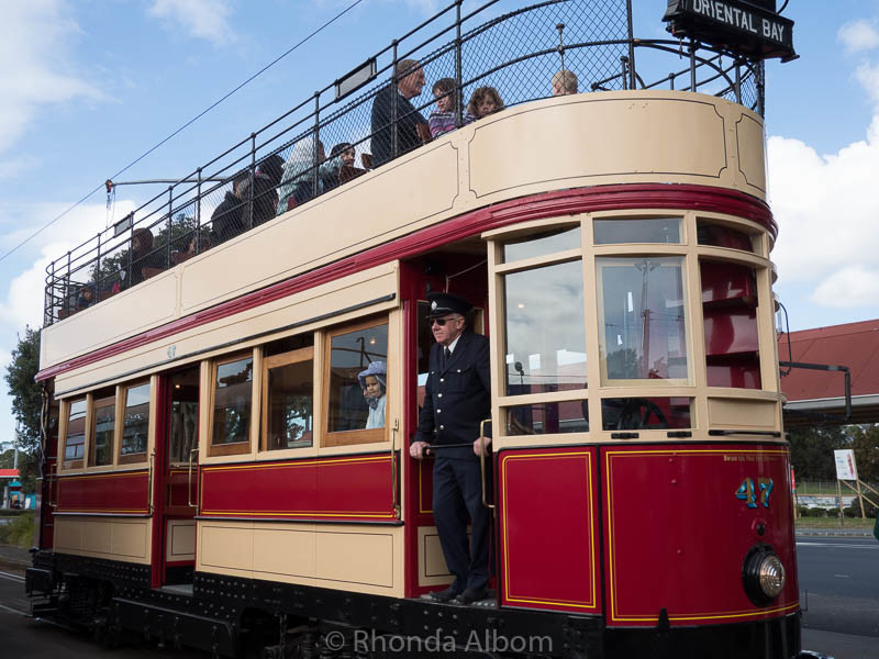 Double decker tram at the MOTAT Live Day in Auckland New Zealand
