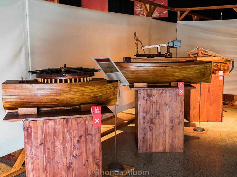 Military engineering by Leonardo da Vinci on display at MOTAT in Auckland New Zealand