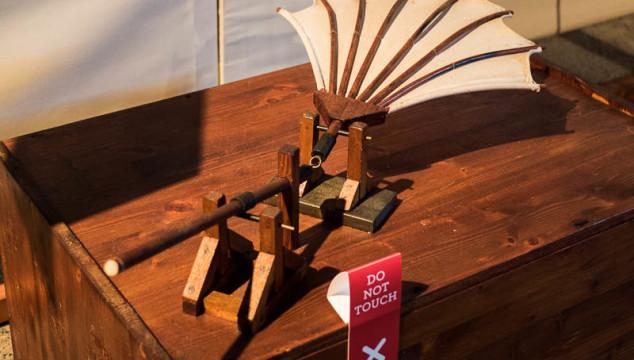 A flying machine designed by Leonardo da Vinci in the traveling da Vinci Machines exhibit.