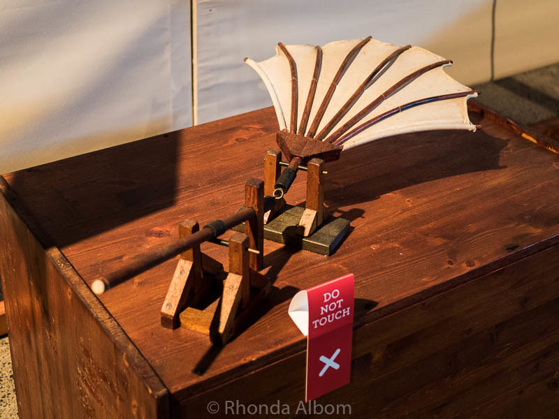 A flying machine designed by Leonardo da Vinci in the traveling da Vinci Machines exhibit.