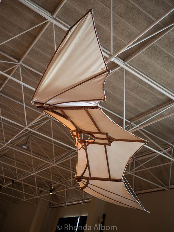 This flying machine designed by Leonardo da Vinci is one of the many interesting displays in the traveling da Vinci Machines exhibit.