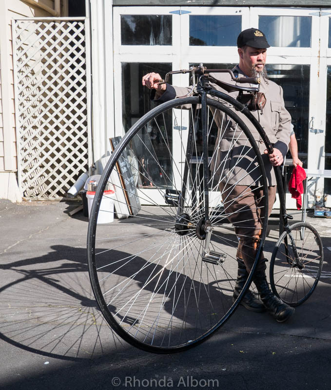Penny Farthing and rider at the MOTAT Live Day in Auckland New Zealand