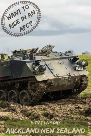 Visitors can ride inside this military armoured personnel carrier at the MOTAT Live Day in Auckland New Zealand