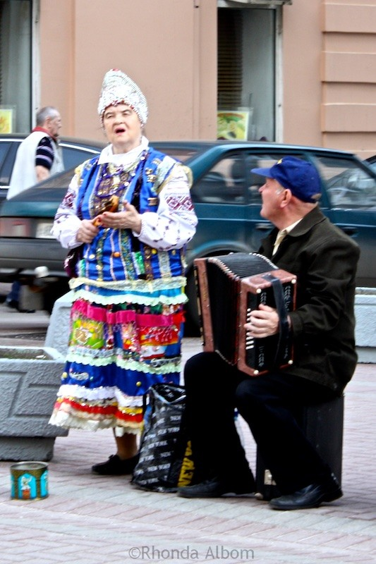 Traditional Street performers on Arbat Street in Moscow Russia