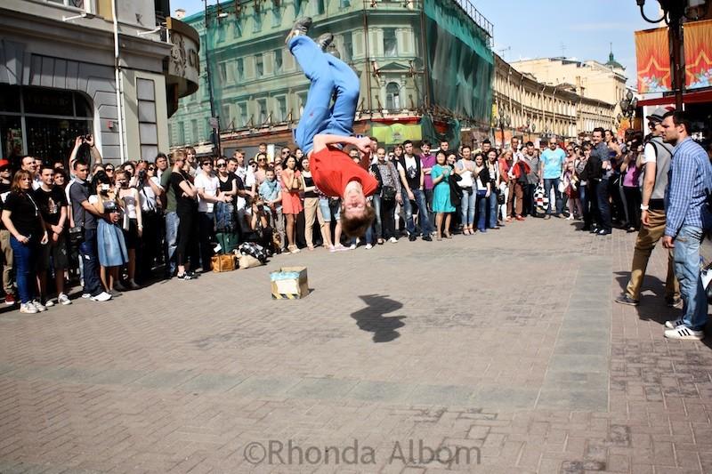 Modern street performer on Arbat Street in Moscow Russia