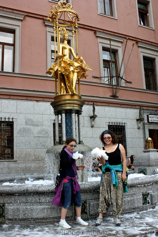 Statue of Princess Tourandot in front of Vakhtangova Theatre on Arbat Street in Moscow Russia