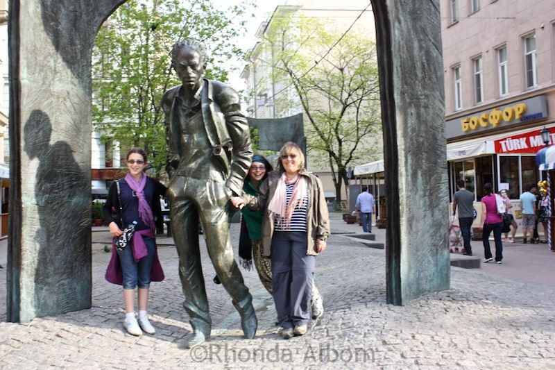 Statue of Bulat Okudzhava on Arbar Street in Moscow