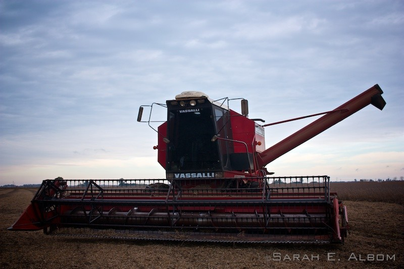 Harvest machine on el campo at a soy bean farm in Rosario, Argentina. Photo copyright ©Sarah Albom 2016