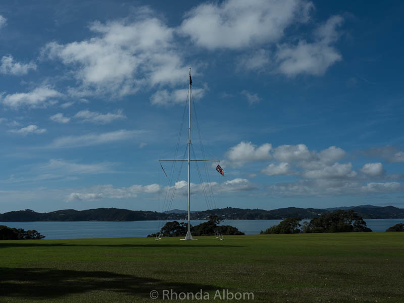 The flagstaff marking the spot where the treaty of Waitangi was signed in New Zealand