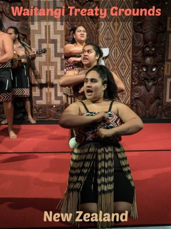 Maori cultural performance at the Waitangi Treaty Grounds in New Zealand.
