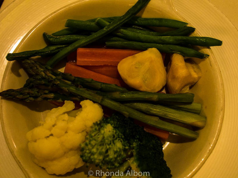A plate of extra vegetables on Princess Cruises